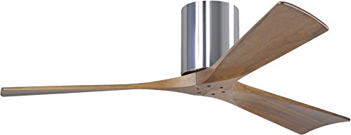 Matthews IR3H-CR-WA-52 Irene 52' Outdoor Hugger Ceiling Fan with Remote & Wall Control, 3 Wood Blades, Polished Chrome