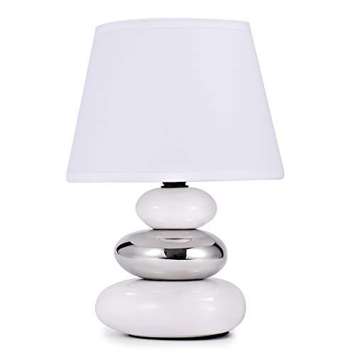 """Lampada da comodino """"Lina"""" con 3 pietre (bianco)"""