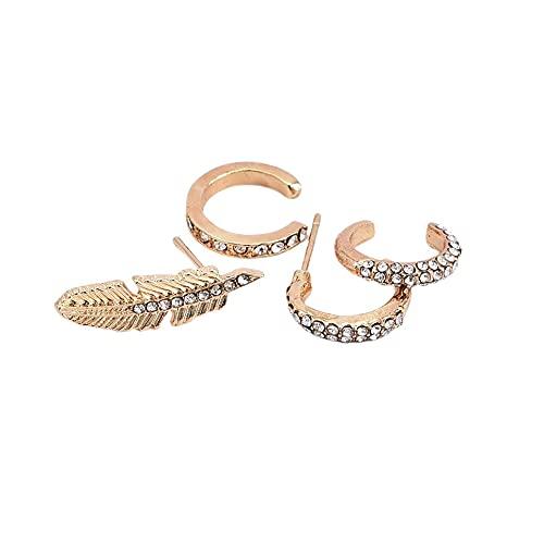 WEFH 4pcs / Set Pendientes Colgantes Traseros de Diamantes para Mujer de Moda Set Regalos Femeninos, Oro