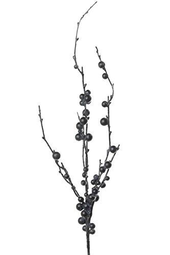 PARC Network - Deko Schneebeeren Zweig, schwarz, 65cm - Plastik schneebeeren - knallerbse kunstpflanze - deko Pflanze - deko symphoricarpos