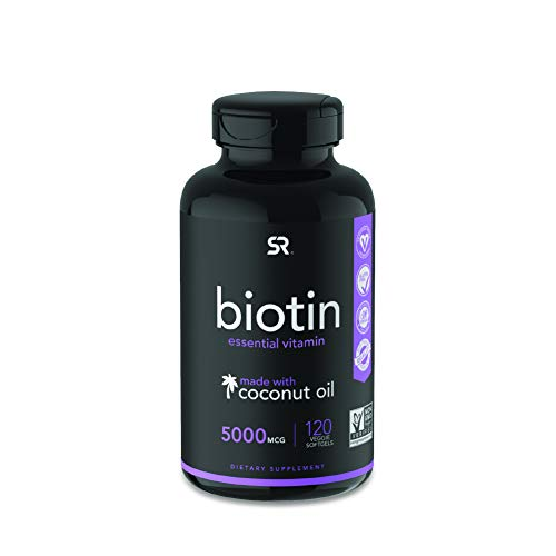Biotin (5,000mcg) with Organic Coconut Oil | Supports Healthy Hair, Skin & Nails in Biotin deficient Individuals | Non-GMO Verified & Vegan Certified (120 Veggie-Softgels)