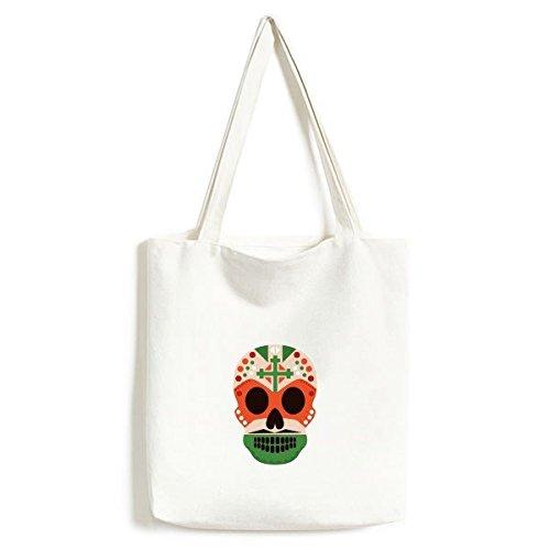 DIYthinker Ilustración Cruz del cráneo México Cultura Color de la Bandera del...