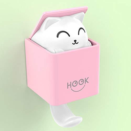 Innovador gancho autoadhesivo para gatos con diseño de gato, para colgar en la pared o en la sala de estar, para decoración de la puerta, bolsa de llaves, tela adhesiva, color rosa