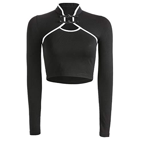 HOSD Camiseta con Botones de Disco para Mujer