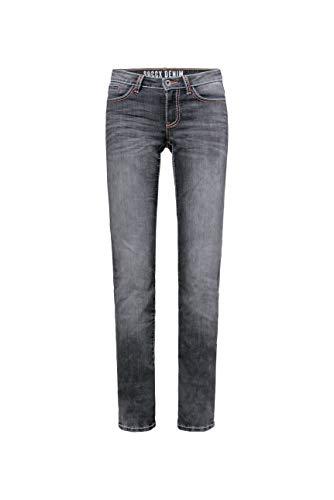SOCCX Damen Jeans RO:My mit Used-Optik und Breiten Nähten