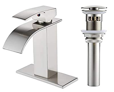 VOTON Waterfall Spout Single Handle Bathroom Faucet Brushed Nickel Commercial Modern Lavatory Tap with Pop-up Drain