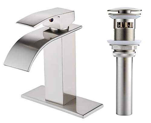 VOTON Waterfall Spout Single Handle Bathroom Faucet Brushed Nickel Commercial Modern Lavatory Tap...