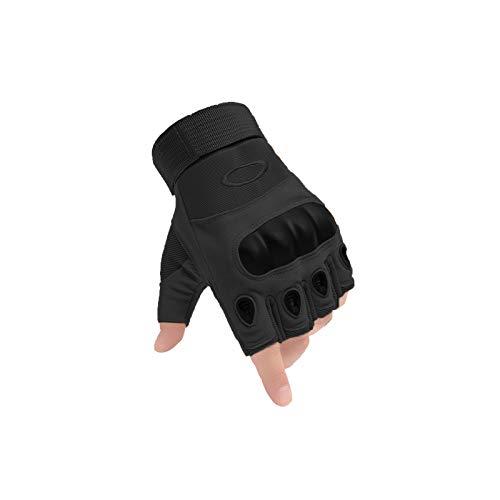 AXELENS Guantes Tácticos Militares Hombre Moto Verano Deportivos Bicicleta Antideslizante Sin Dedos Medios Dedos Aire Libre Protección Nudillos Acolchados MTB Antiviento Anti-Corte Talla XL Negro