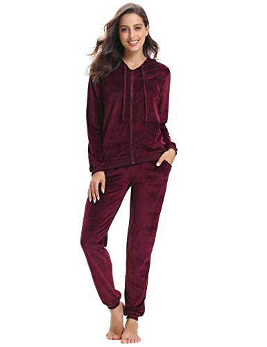 Abollria Women's Long Sleeve Solid Velour Sweatsuit Set Hoodie and Pants Sport Suits Tracksuits Wine Red