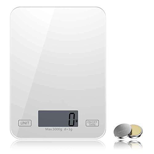 Oneon デジタルスケール キッチンスケール 1g 単位 クッキングスケール 5kg 計量可能 電子 はかり 風袋引き デジタル 計量器 2年間保証 高精度センサー(ホワイト)
