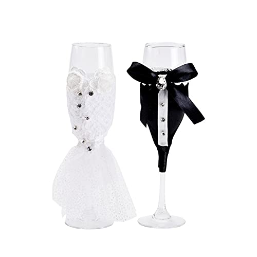 2 unids Wedding Wine Champagne Glasses Copa Conjunto Elegante Cristalería y Stemware...