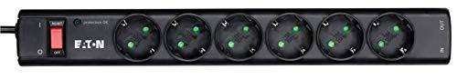 Eaton Protection Strip 6 Tel@ DIN - Steckdosenleiste mit Überspannungsschutz (6-fach Schuko Buchse, schaltbar, Telefon Schutz) - schwarz NEU