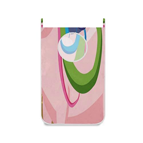 ZANSENG Wäschekorb, magisches nettes Unicorn On Background des sternenklaren Himmel-Vektor-Reißverschluss-Wäschekorb-Tür, die mit Edelstahl-Haken, 420d Oxford-Stoff-Tür-Wäschekorb hängt
