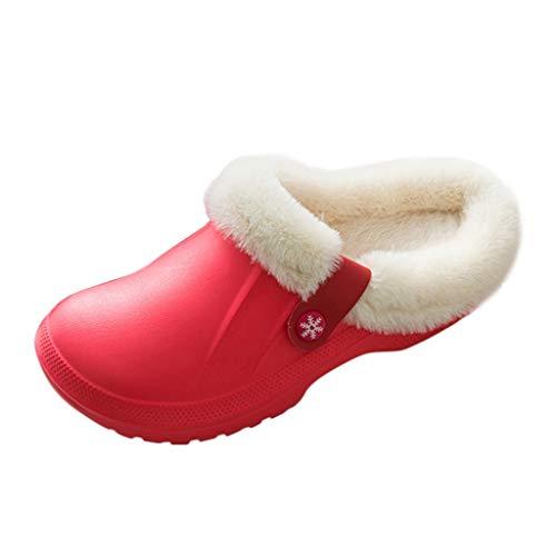 Baumwoll Pantoffeln Unisex Winter Hausschuhe Herren Damen PlüSch Warm Home rutschfeste Slippers WolläHnliche Drinnen Und DraußEn GefüTterte Haus Slipper Badepantoletten Gartenschuhe