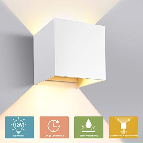 GHB Wandleuchte Wandlampe 12W LED Wandbeleuchtung mit einstellbar Abstrahlwinkel Up Down Design IP65 Wasserdichte 2700K Warmweiß (Weiß) [Energieklasse A+]