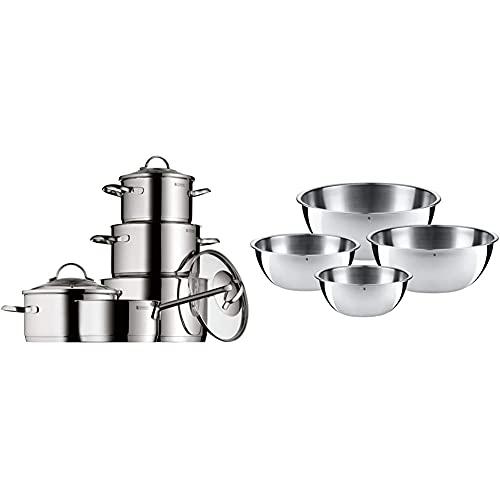 WMF Provence Plus Set Pentole 5 Pezzi & 0645709990 Set 4 Ciotole da Cucina in Acciaio Inossidabile 18/10 Cromargan