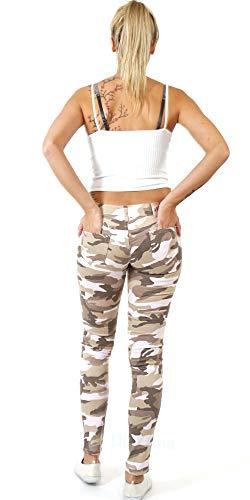 Platzona Damen Chino Boyfrien Haremshosen Jeans Leggings Print Army Camouflage Skinny Röh (34)