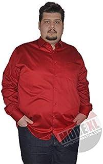 Mode Xl-Büyük Beden Erkek Klasik Uzun Kollu Pamuk Saten Gömlek Krmz 1001Kir (3Xl,10Xl