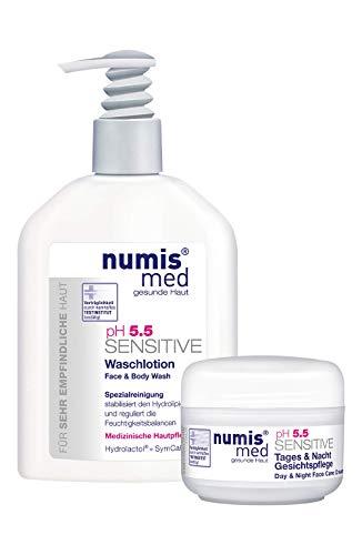 numis med Gesichtscreme & Waschlotion ph 5.5 SENSITIVE - Körperlotion Spender & Gesichtscreme Tag & Nacht Set - vegane Gesichtspflege für sensible, feuchtigkeitsarme & zu Allergien neigende Haut