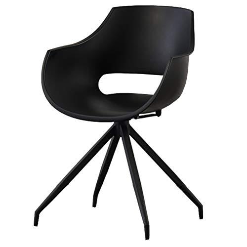 Greneric Esszimmerstuhl Drehstuhl Wohnzimmerstuhl Esszimmerstuhl mit Armlehne und Retro Design Stuhl für Büro Lounge Küche Wohnzimmer mit SchwarzBein (Schwarz, 1)