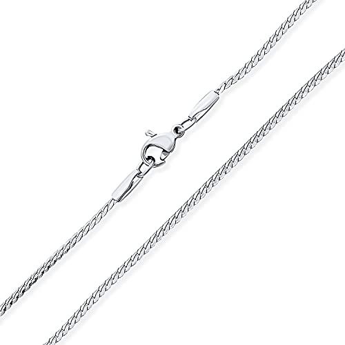 Bling Jewelry Unisex Thin Strong Simple Basic 1.5MM Silver Tone Stainless Steel Flat Serpentine Chain Collar para Hombres Mujeres 24 Pulgadas