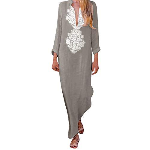 Daylin Mujer Manga Larga Cuello en V Maxi Vestido Suelto Kaftan Vestidos Lino Dress, Color Sólido