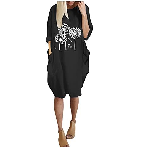 Happily Vestido Casual Loose Estampado Mujer Sudadera Tops Chaqueta Suéter Jersey Mujer Otoño Invierno Talla Grande Hoodie Sudadera Suelto Sólido Manga Larga con Capucha Tejido (Negro, XL)
