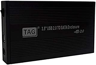 """TAG 3.5"""" USB 2.0 to SATA External Hard Drive Enclosure - Suitable for All Types of 3.5"""" Hard Disk (SSD/HDD)"""