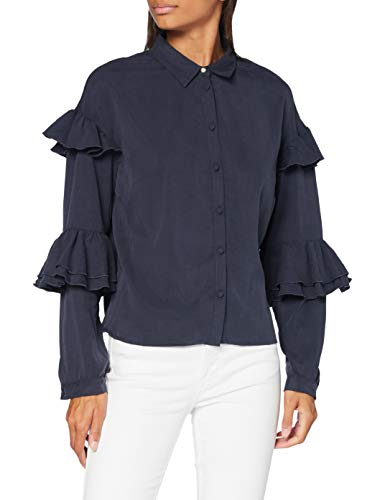 Amazon-Marke: find. Hemd Damen Blumenmuster und kastenförmige Silhouette, Blau (Navy), 38, Label: M