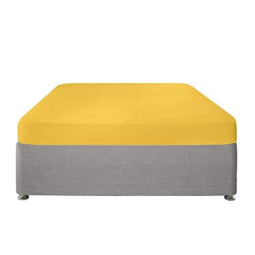 Serene Plain Dye-Easy Care 32cm Deep Fitted Sheet, Cotton, Ochre, Super-King
