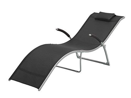 Outsunny Sdraio Chaise Longue Pieghevole da Giardino Acciaio e Textilene 172x62x66cm Nero