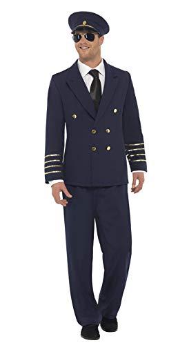 Smiffys-28621M Disfraz de piloto de avión Marino, con Chaqueta, pantalón y Sombrero, Color Azul, M-Tamaño 38'-40' (Smiffy'S 28621M)