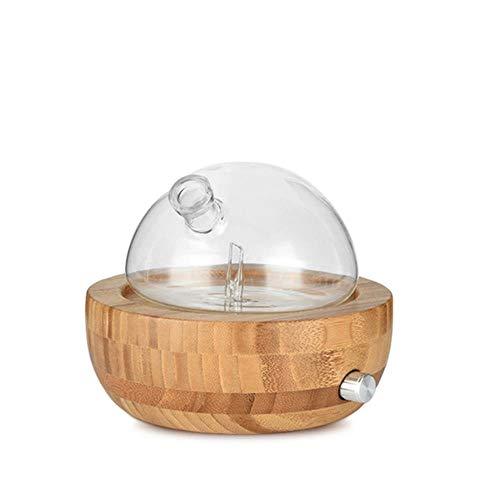 LinZX Bambus Glas ätherisches Öl Vernebler Aroma Diffuser Luftbefeuchter Low Noise Mist Steuerung Timer-Steuerung,Brown Yellow