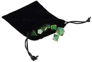 RanDal 7 szt. wysokowydajnych metalowych i poliedrycznych kostek wielostronne kostki-antyczne kostki Rpg - zielone