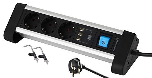 Electraline 62559 Steckdosenleiste 3-Fach Alu für den Schreibtisch + 3 USB 3.4A, Kabel 2m / Mehrfachsteckdose/Tischsteckdose Steckerleiste, Schuko Stecker, Metal, Schwarz