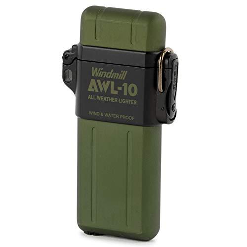 WINDMILL(ウインドミル) ライター モスグリーン AWL-10 ターボ 触媒付き 防水 耐風仕様 307Z-0045 高さ74×幅39×厚さ13mm