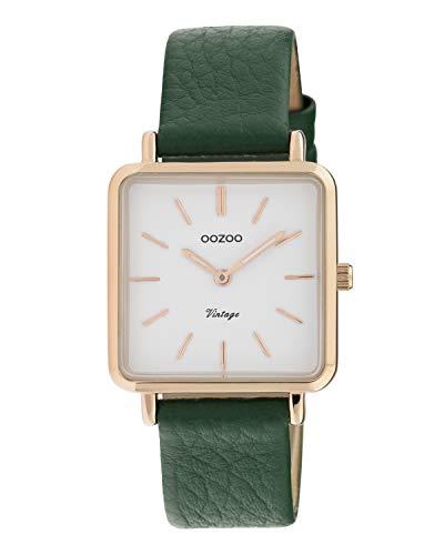 Oozoo Vintage Damenuhr mit Lederband Quadratisch 28 MM Rose/Weiß/Grün C9949