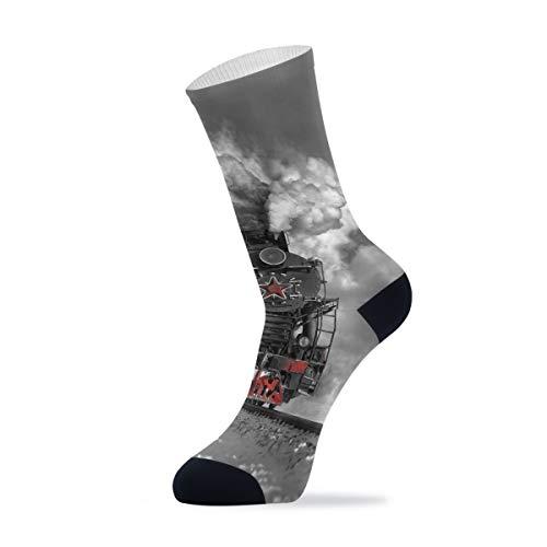 Linomo Vintage Tren Locomotora de vapor soviética de lujo deportes al aire libre casual Crew calcetines tobillos altos calcetines de vestir para hombres y mujeres 1 paquete, Hombre, multicolor