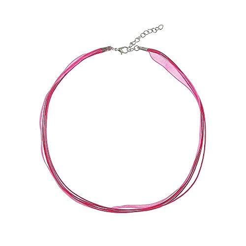 Alpenklunker Kette Chiffon DIY Halsband viele Farben zu jedem Dirndl passend schmuckrausch Farbe Pink