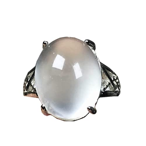 Anillo de piedra lunar natural arco iris piedra piedra lunar joyería para mujeres hombre suerte cristal oval 15x12mm cuentas anillo ajustable AAAAA