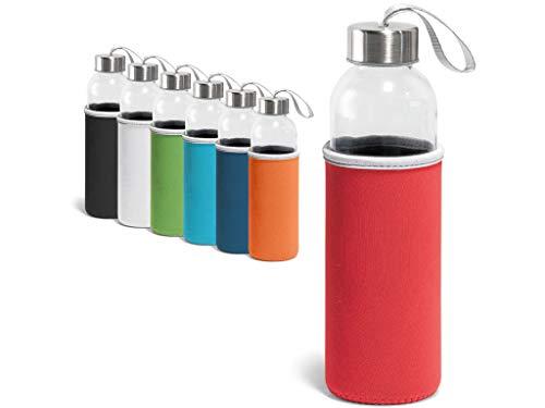 Waterfles van glas, 600 ml. Herbruikbare en duurzame neopreen hoes met draaggreep. BPA-vrij.