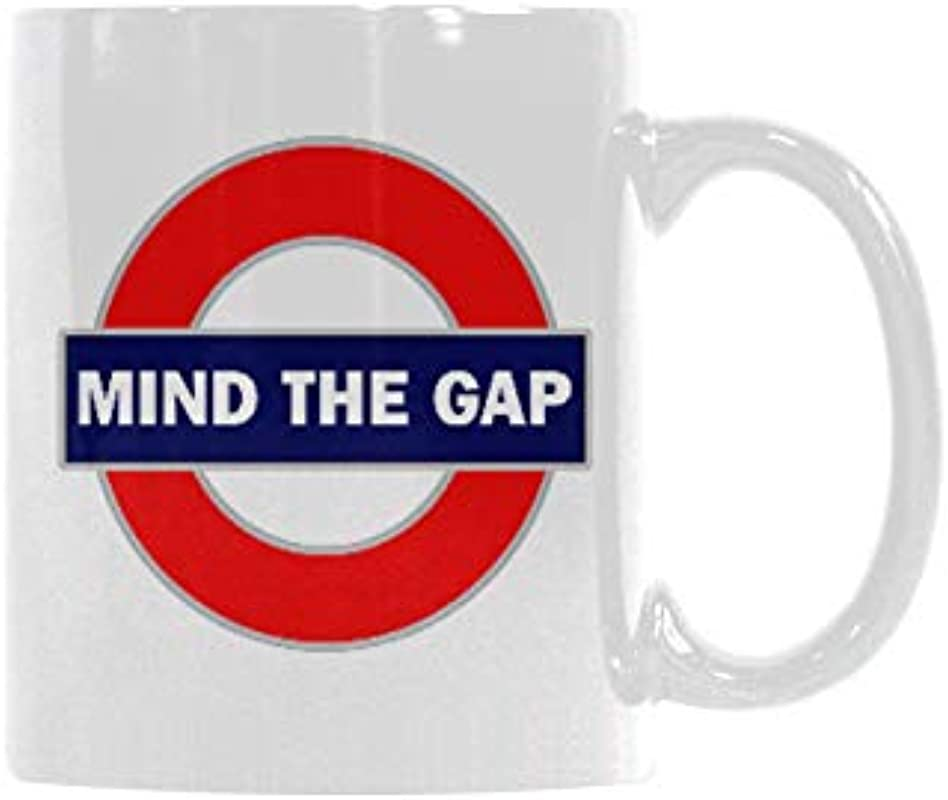 Funny High Quality Funny London Sign Coffee Mug Mind The Gap Theme Coffee Mug Or Tea Cup Ceramic Material Mugs White 11oz