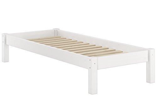 Erst-Holz® Weißes Futonbett ohne Kopfteil Kiefer massiv 90x200 Bettgestell mit Rollrost 60.35-09 W