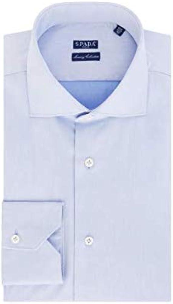 Spada, camicia per uomo, in puro cotone, manica lunga, celeste