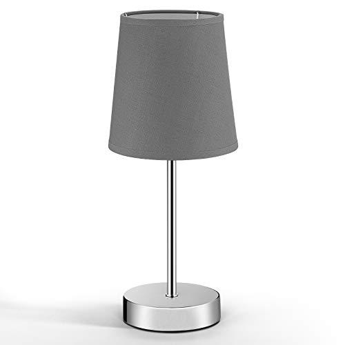 Monzana Nachttischlampe Tischlampe grau Stoffschirm Höhe 32cm Tischleuchte Anthrazit E14 Nachttischleuchte Leselampe