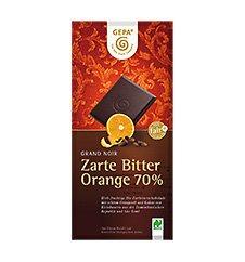 GEPA Bio Grand Noir Zarte Bitter Orange 70% Kakao Flach-Tafel-Schokolade 1 Karton (10 x 100g)