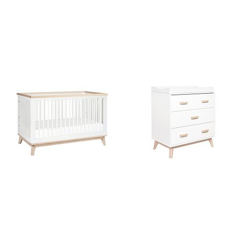 Babyletto Scoot 3-in-1 Convertible Crib, White/Washed Natural and 3-Drawer Changer Dresser, White/Washed Natural Finish