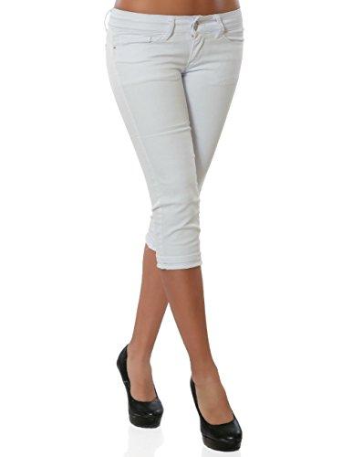 Damen Jeans Kurze Sommer Hose Push-Up Denim Stretch DA 15908 Farbe Weiß Größe S / 36