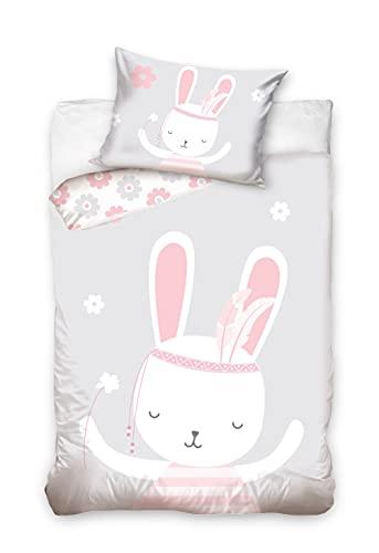 Carbotex Bettwäsche für Kinder 100x135 40x60 mit träumenden Hasen – Bettwäsche zum Wenden für Mädchen - Kopfkissen- und Bettdeckenbezug aus 100% Baumwolle