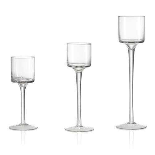 Sohapy Set of 3 Elegant Tall Glass Candle Holders, Clear Glass Tealight Candle Holder, Ideal for Dining, Wedding, Party, Home Decor - Different Sizes (3)